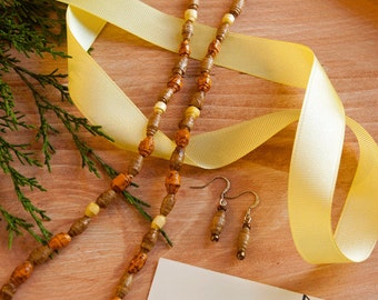 Handmade Earth Friendly Paper Bead Necklace and Earring Set in Natural Tones