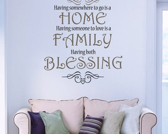 Home family blessing Wall Decal | Family Christian Wall Decal