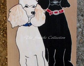 This commissioned poodle love icon of two poodles is hand-painted in acrylic on alder wood.