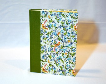 Blank journal, handmade with Florentine bird and butterfly pattern on cover
