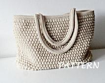 Crochet Pattern Crochet Bag Pattern Tote Pattern crochet purse  woman bag, shopping bag, summer bag beach bag, handbag, crochet shoulder bag