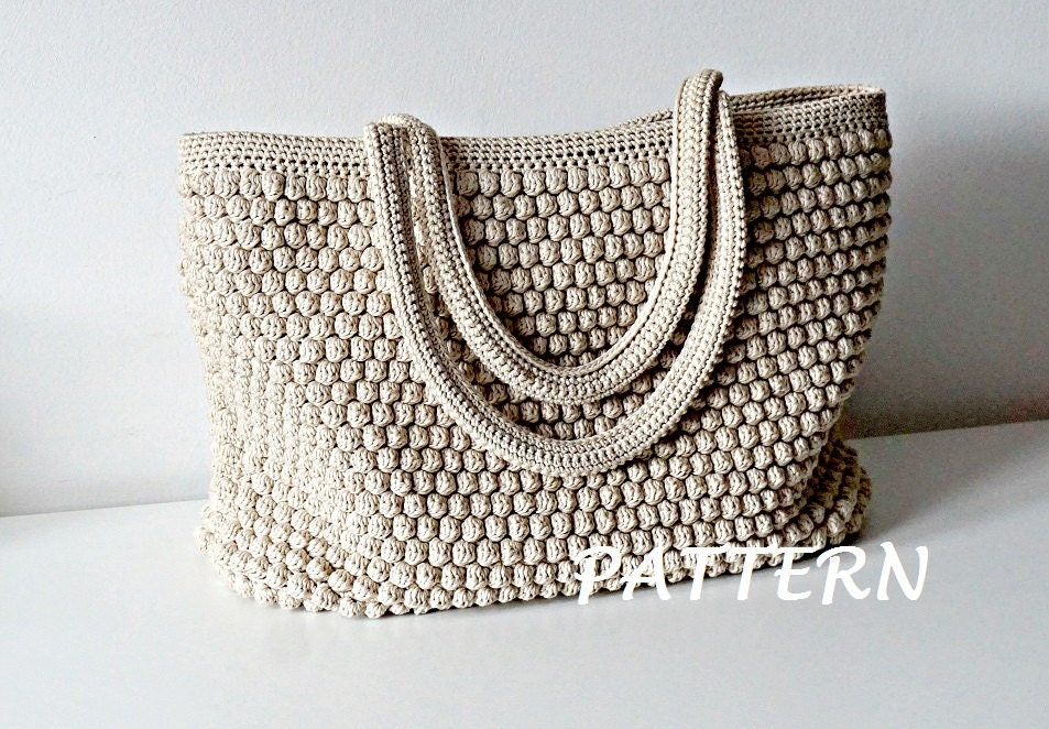 Free Crochet Patterns For Tote Bags And Purses : Crochet Pattern Crochet Bag Pattern Tote Pattern by isWoolish