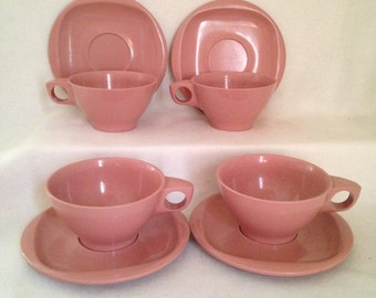 Vintage Bootonware Cups with Saucers Set of 4 Dusty Rose Pink