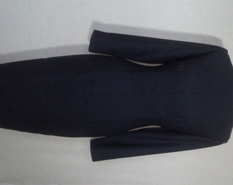 Navy Long Sleeve Wool Dress with Boat Neckline.