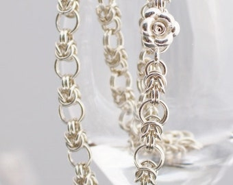 Byzantine Variation Necklace - Argentium Sterling Silver, Rose Clasp