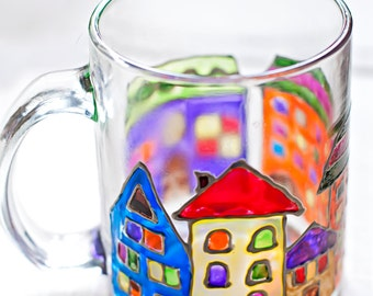 Hand painted mug with multicolor houses draw. Stained-glass view cup. Inspiration kitchen decor. Perfect gift. Cute European architecture