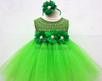 Green Fairy Flower girl dress, apple green tutu dress, bridesmaid dress, tinkerbell princess dress, crochet top tulle dress, yarn tutu dress