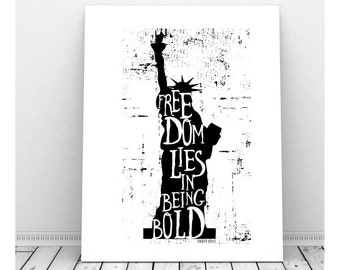 Statue of Libery Silhouette, Freedom Quote, Inspirational Poster, Instant Download, Robert Frost Quote, Typography Print, New York Decor