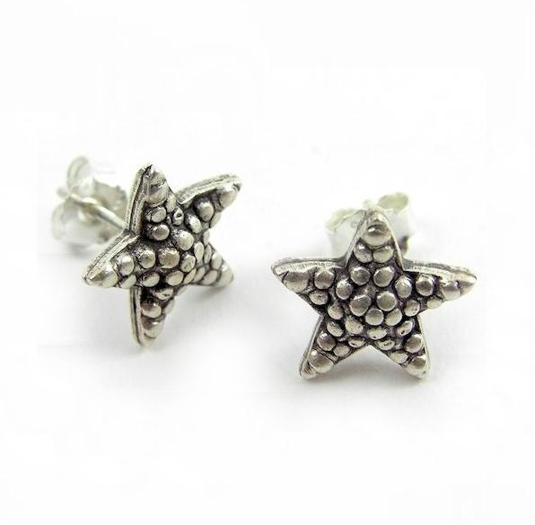 sterling silver starfish studs earrings silver drops and