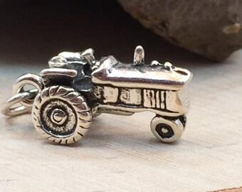 Tractor Charm, Tractor Pendant, Farm Charm, Farm Pendant, Sterling Silver, PS1408