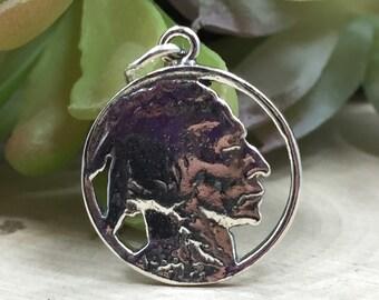 Indian Head Nickel Charm,  Indian Head Nickel Pendant, Sterling Silver Indian Head, PS1443