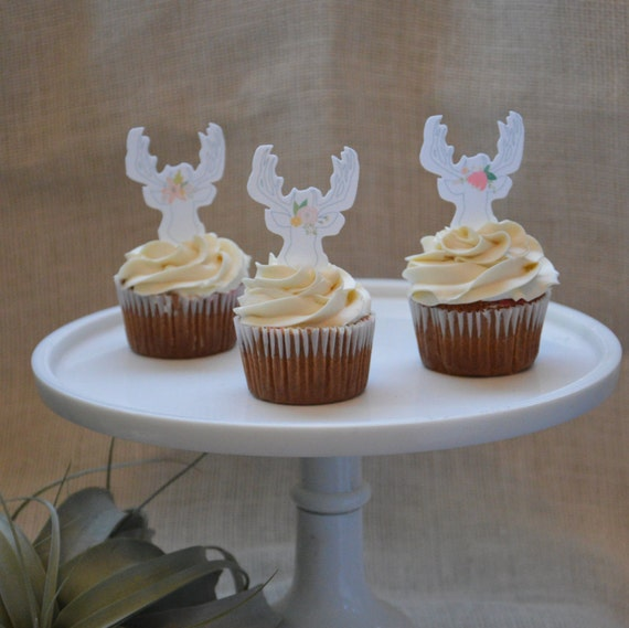12 Deer cupcake topper with flower, Edible Antler, Antler ...