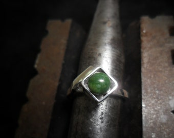 Sterling silver with Wyoming jade ring