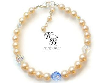 Pearl Bridal Bracelet, Something Blue, Something Blue Jewelry, Wedding Jewelry, Pearl Bridal Jewelry, Bridal Shower Gift, Prom Jewelry