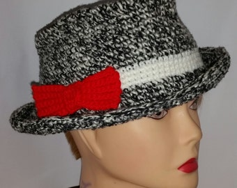 "Hat ""panama"" in wool crocheted with red staple"