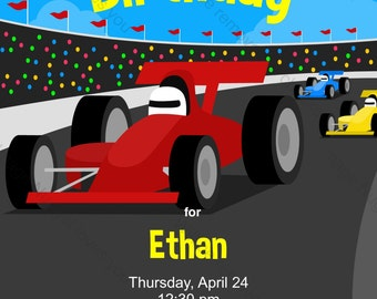 Race Car F1 Birthday Invitation - printable design, customizable, instant download For Boys or Girls Formula 1 Race Track party