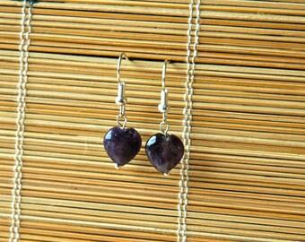 Lovely Amethyst Heart Earrings