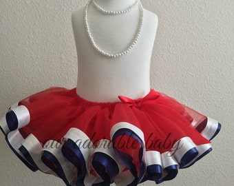 4th of July Tutu | Toddler Tutu | Princess Baby Tutu | Red Ribbon Tutu | Mother Daughter Tutus | Navy Toddler Tutu