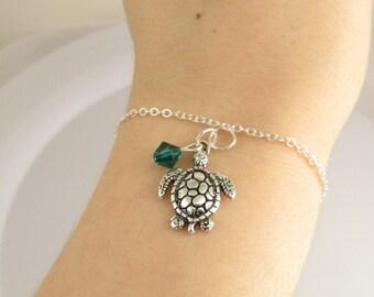 Sea Turtle Bracelet- choose a color, Sea Turtle Jewelry, Turtle Charm Bracelet, Turtle Charm Jewelry, Customized Turtle, Custom Gift
