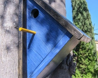 Handmade Wooden Angled Birdhouse in Blue
