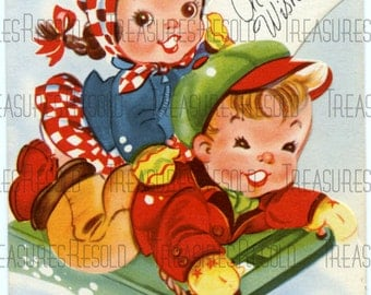 Retro Children Sledding Christmas Card #369 Digital Download