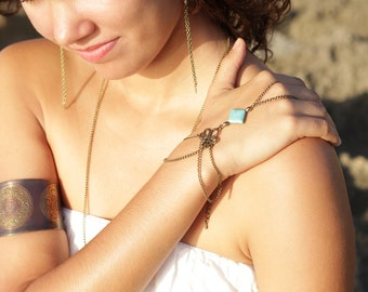 slave bracelet hand piece chain bronze turquoise boho bohemian hippie vintage hand hair body jewelry