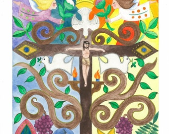 """Print of an original watercolor painting - """"In Atonement for Our Sins"""" 9 1/2"""" x 13 1/2"""""""
