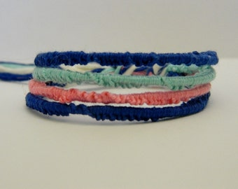 Adjustable 4 Strand Blue, Pink, & Turquoise Friendship Bracelet
