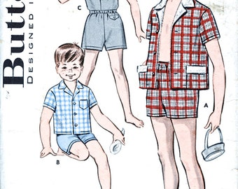 """1950's Butterick Pattern - Boys' Separates - Cabana Set - Shirt And Boxer Shorts - Vintage Sewing Pattern - Butterick 9287 - 30"""" Chest"""