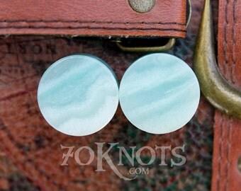 Amazonite Stone Plugs - Double Flared - 1 Pair - 6mm - 8mm - 10mm - 11mm - 12.7mm - 14mm - 16mm - 19mm - 22mm - 25mm - Organic