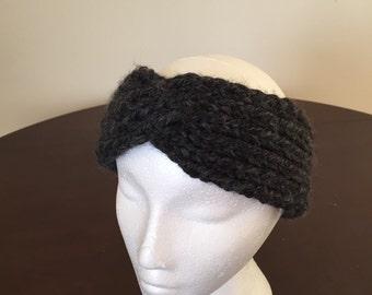 Dark Grey Twist Hand Knit Headband