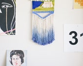 electric ladyland / wall hanging weaving tapestry with tassels / textile art