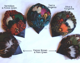 1970's Feather Fascinators - High Quality Feather Pad with Comb