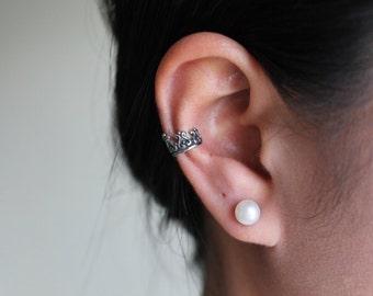 Crown Ear Cuff, Stainless Steel 316L, Hypoallergenic.