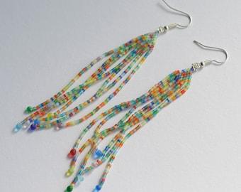 Bright confetti feather long beadwoven earrings