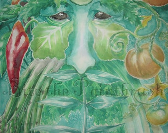 Green Man with Ginger and Pumpkins Print delicious vegetables garden guardian