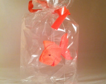 Orange spiky fish - The Ultimate Pet, Fish in a bag, vegan.