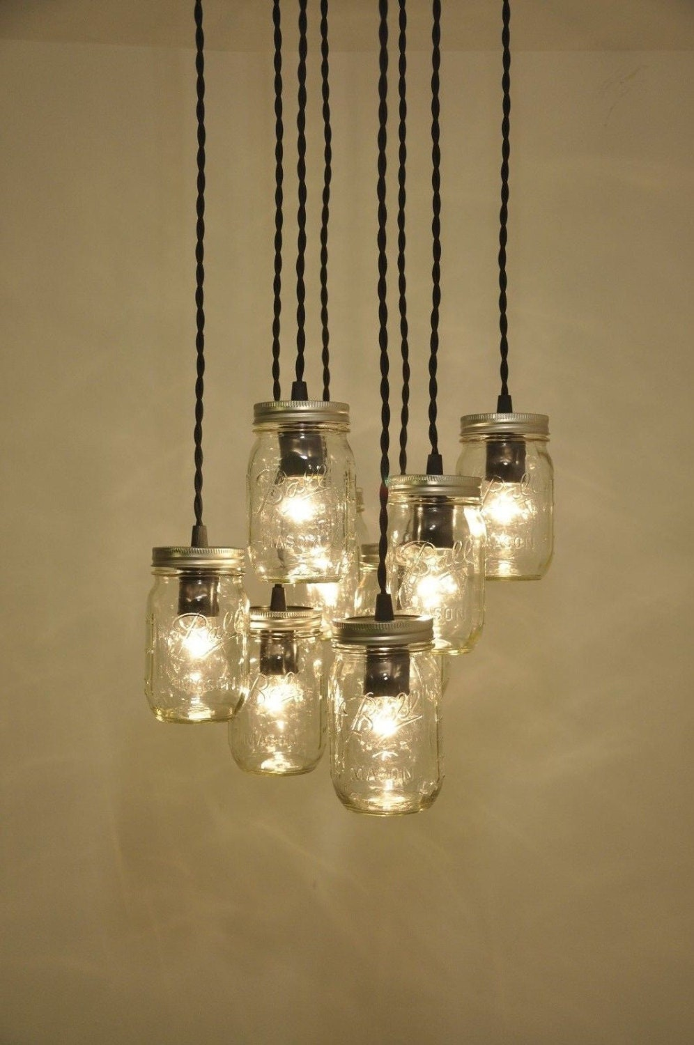 mason jar chandelier pendant light fixture 8 jars beautiful. Black Bedroom Furniture Sets. Home Design Ideas