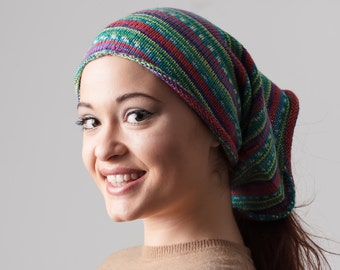 Women's Hat, Women's Beanie, Knitted Slouchy Beanie, Knitted Loop Scarf, Oversized Knit Hat, Slouch Hat, Colorful Beanie,  Womens hats