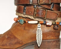 Carved bone feather boot bracelet with coral, ceramic, pewter, bone hairpipe, wood, glass seed beads, and Owl charm