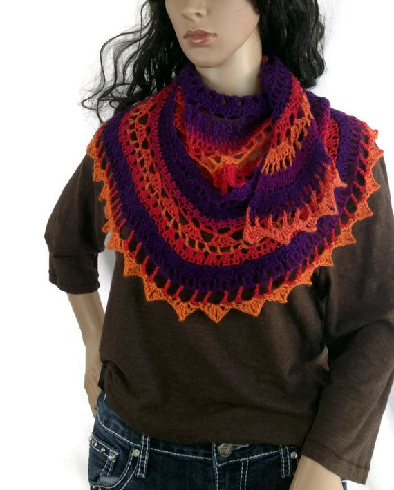 Scottish Norse Orange Red Purple Capelet Shawl Shawlette Capelette Scottish Wrap Vikings FREE SHIPPING