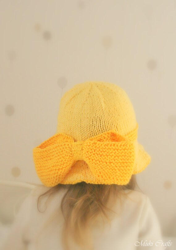 Knitting Pattern For Baby Sun Hat : KNITTING PATTERN sun brim hat Solei with a bow baby by MukiCrafts