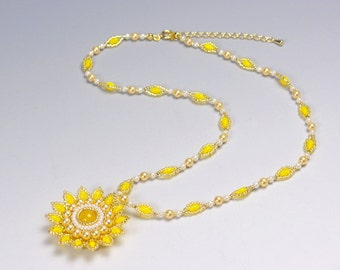 Beaded flower pendant necklace yellow, Flower necklace yellow, spring necklace gazania, yellow elegant necklace mothers day, for her, 383-1