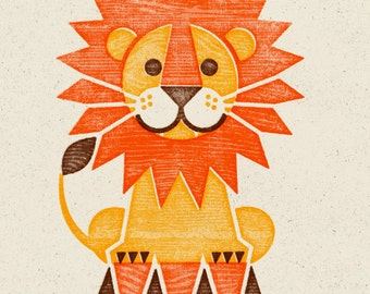 Circus Lion Woodblock Print, Wall Art, Home Decor