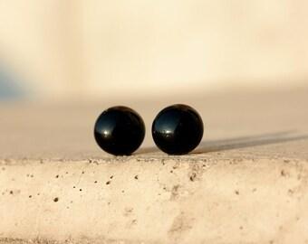 Black glass stud earrings, post earrings, black post, black studs, black tiny stud earrings