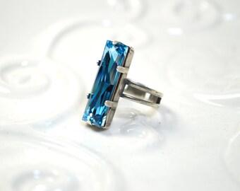 Swarovski Aquamarine Crystal Baguette Ring - Antiqued Silver