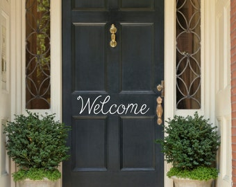Welcome Door Decal Front Door Decal Door Sticker Welcome Door Sticker Door Lettering Door Curb Appeal