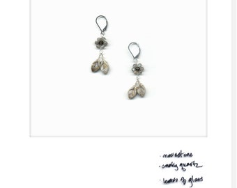 mariBloom earrings – iceybloom_02:moonstone and smoky quartz; sterling silver; handmade one of a kind