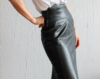 1960s leather black skirt