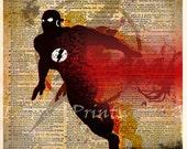 The Flash art - The Flash poster -  Vintage Silhouette print  - Retro Super Hero Art - Dictionary print art
